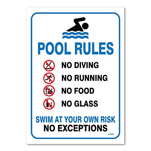 - Pool Sign - Swimming Pool Rule Sign - 14 x10 Blue, Red, Black on White Vinyl Sticker, Indoor and Outdoor Use, Rust Free, UV Protected, Waterproof, Self Adhesive