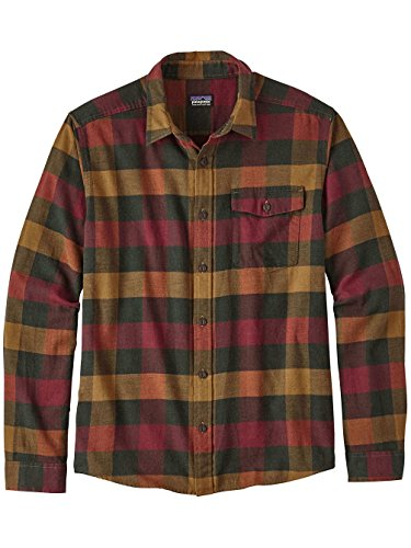 -Sleeved Lightweight Fjord Flannel Shirt (Medium, Upriver: Drumfire Red) (Patagonia Red Shirt)