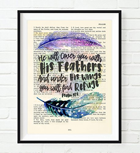 He will cover you with His Feathers- Psalm 91:4 Christian ART PRINT, UNFRAMED, Vintage Bible Verse wall decor poster, Inspirational gift, 5x7 inches