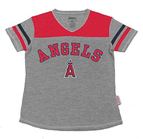 MLB Los Angeles Angels Girl's V-Neck Jersey Top, Grey, (Mlb Kids Jerseys)