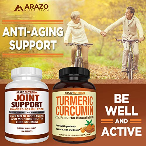 Glucosamine Chondroitin Turmeric MSM Boswellia - Joint Support Supplement for Relief 180 Tablets - Arazo Nutrition by Arazo Nutrition (Image #5)