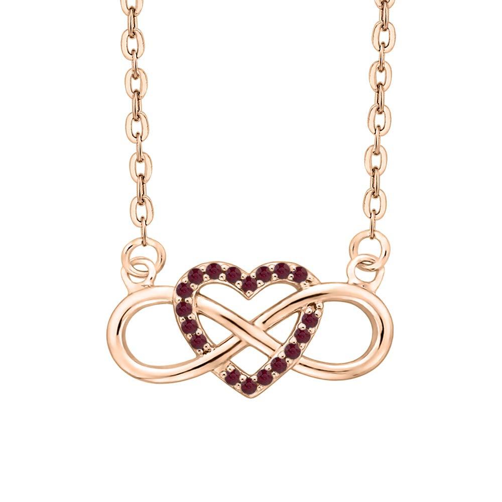 KATARINA Gemstone Infinity Heart Pendant Necklace in 10K Gold 1//8 cttw