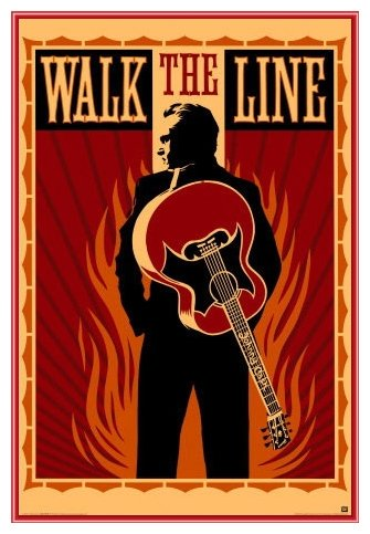 Johnny Cash Walk the Line Framed Poster - Quality Red Metal