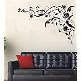 ORDERIN Wall Decal Black Flower Vine Removable Mural Wall Stickers for Home Wall Wardrobe Decor