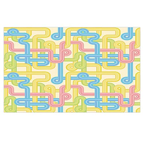 3D Floor/Wall Sticker Removable,90s,Old Design Hippie Labyrinth Style Geometric Pattern Illustration in Pastel Colors,Yellow Blue,for Living Room Bathroom Decoration,35.4x23.6 -