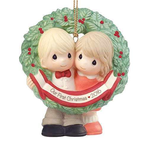 "Precious Moments, Christmas Gifts, ""Our First Christmas Together 2016"", Bisque Porcelain Ornament, #161004"