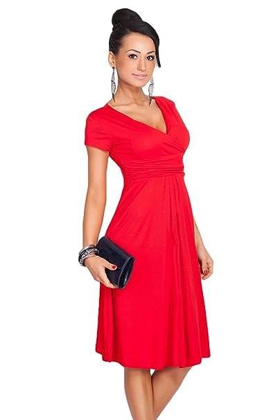 97541b8f9 YuanDian Mujer Profundo V Cuello Manga Corta Oscilación Vestidos Fiesta  Cocktail Cintura Imperio Longitud De La Rodilla Midi Plisada Vestido Rojo  3XL  ...