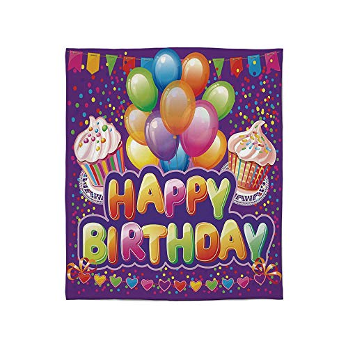 YOLIYANA Fine Flannel Blanket,Birthday Decorations,for Home Travel Camping,Size Throw/Twin/Queen/King,Purple Backdrop with Creamy Cupcakes Hearts Confetti ()