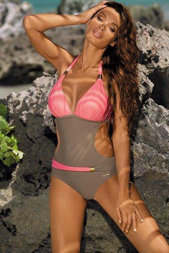 Donne da Halter da Bikini Trikini Schienale Bagno Rosa Piscina Costumi o Costume Mare Imbottito Costume Spiaggia Intero Esposto chuangminghangqi dnHw0FRqd