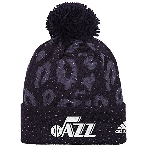 fan products of NBA Utah Jazz Women's Black Out Print Cuffed Knit Beanie, One Size, Black