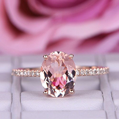 Oval Morganite Engagement Ring Pave Diamond Wedding 14K Rose Gold 7x9mm by the Lord of Gem Rings