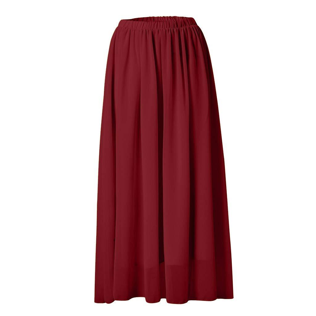 Fenverk Damen Elegant Hohe Bund A-Linie Bleistiftrock Boho Vintage High Waist Eng Minirock Lang Chiffon Kleid Double-Layer Gefaltet Strand