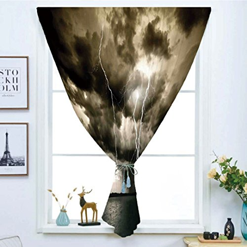 iPrint Blackout Window Curtain,Free Punching Magic Stickers Curtain,Nature,Majestic Rain Cloud with A Thunderstorm All Over The Ocean Flash Sea Dramatic Scenery,Grey Blue,Paste Style,for Living Room -