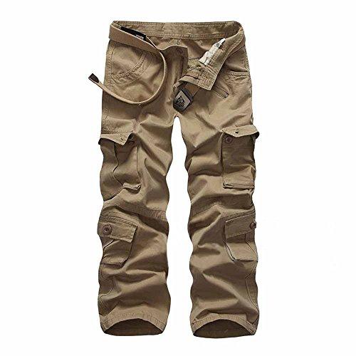 Casual Sans Favoridol Hommes Pantalons Kaki Cargo Poches Ceinture Vintage Multi wwAPIUq