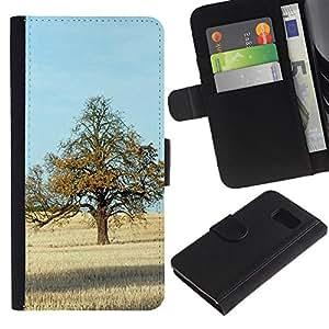 JackGot ( Natura Bella Forrest Verde 71 ) Samsung Galaxy S6 la tarjeta de Crédito Slots PU Funda de cuero Monedero caso cubierta de piel