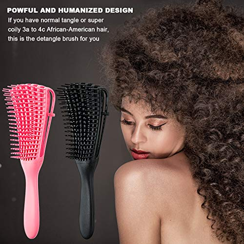 2 Pieces Detangling Brush for Afro America/ African Hair Textured 3a to 4c Kinky Wavy/ Curly/ Coily/ Wet/ Dry/ Oil/ Thick/ Long Hair, Knots Detangler Easy to Clean (Black, Pink)