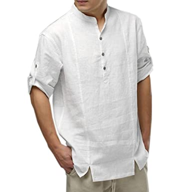 44d245092 UJUNAORTOP Mens Cotton Linen Shirts Casual Long Sleeve Stand Neck Tops  Loose Blouse(White,UK XL/CN XXL): Amazon.co.uk: Clothing