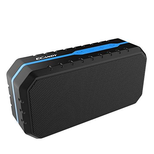 Ecandy Portable Wireless Bluetooth Speakers Waterproof IPX6, Stereo Pairing, Wireless Speaker for iPhone 7/7Plus, iPad iPod and Android Phones (Black/Blue)