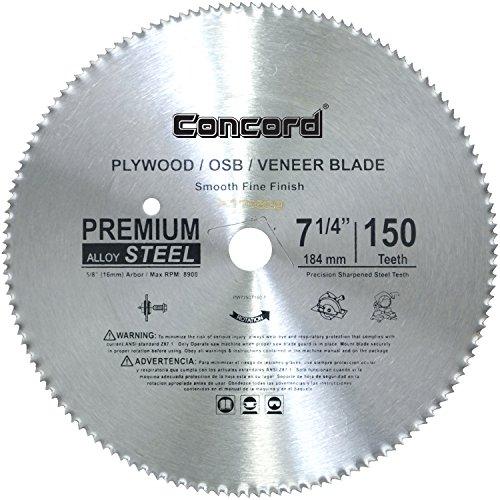 - Concord Blades PLY0725T150HP 7-1/4-Inch 150 Teeth Plywood Steel Saw Blade