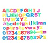 Aubig Canned 80pcs Colorful Numbers Capital and Small Letters Fridge Sticker Magnets for Children