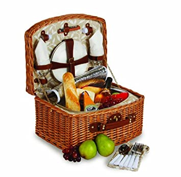Picnic Plus Willow Picnic Basket With Insulated Cooler, All-in-One Portable Picnic Basket for 2, With Two Wine Glasses Two Plates Two Cotton Napkins Two Sets of Utensils One Corkscrew Tool And One Salt Pepper Shaker 16 Pieces Included