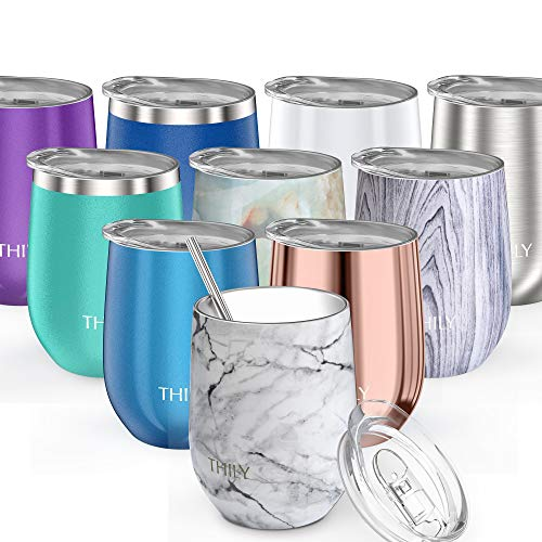 Stainless Steel Stemless Wine Tumbler - THILY 12 oz Triple-Insulated Stemless Glass with Lid and Straw, Durable Reusable Travel Coffee Cup, Keep Hot or Cold for Wine, Coffee, Beer, Juice, White Marble
