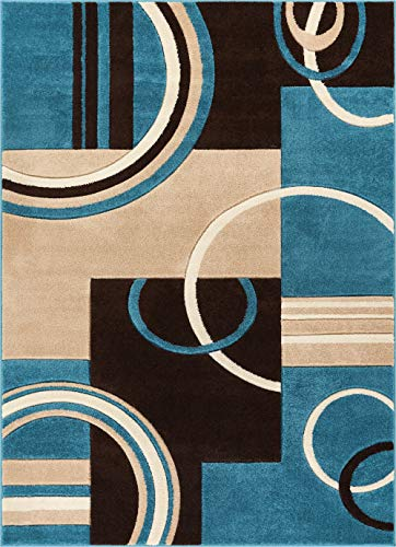 - Echo Shapes & Circles Blue & Brown Modern Geometric Comfy Casual Hand Carved Area Rug 5x7 ( 5'3