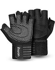 ihuan Geventileerde gewichtheffen Gym Workout Handschoenen met polswikkelondersteuning voor mannen en vrouwen, volledige palmbescherming, voor gewichtheffen, training, fitness, opknoping, pull-ups