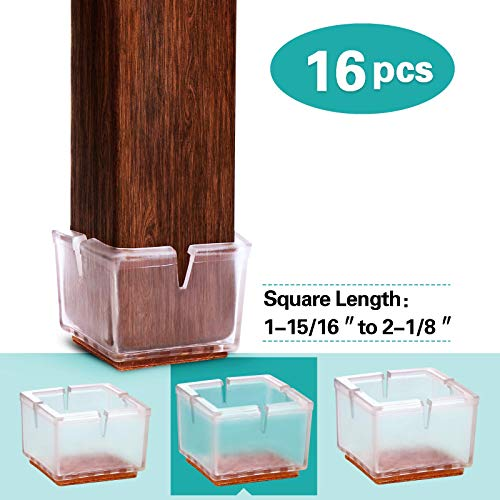 MelonBoat Extra Large Chair Leg Floor Protectors with Felt Furniture Pads, Chair Glides Table Feet Caps, 16 Pack, Fit Square Length 1-15/16 to 2-1/8 Inch (4.9-5.3cm) (Leg Chairs Patio For Protectors)