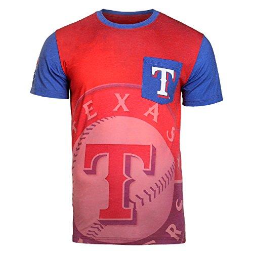 (2016 KLEW MLB Baseball Mens Cotton Poly Pocket Logo Tee T-shirt - Pick Team (Texas Rangers, Medium))