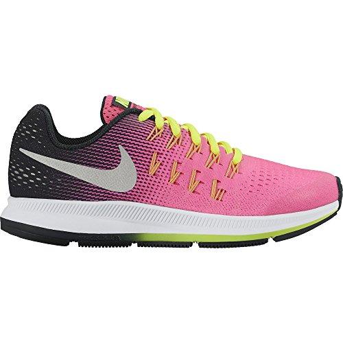 NIKE Girl's Zoom Pegasus 33 (GS) Running Shoe Hyper Pink/Metallic Silver/Black/Volt Size 5 M US