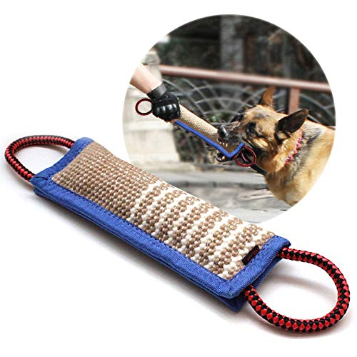 onebarleycorn – Beisswurst für Hunde, 30 cm mit Zwei Griffen Jute Beisswurst Tauziehen und Zerrspiele mit Hund…