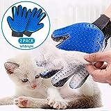 Guantes removedores de Pelo para Mascota (2 Guantes) Perfecto para Perros Gatos Caballos/Guantes de Aseo y Masaje para Mascota/Cepillo para retirar Pelo (Incluye 2 Piezas) (Par) (1 par (azul))