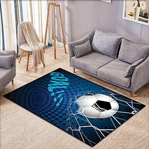 """Price comparison product image Custom Rug, Soccer Goal Football Flying into Net Abstract Dots Pattern Background European Sport, Children Crawling Bedroom Rug, 3'11""""x5'10"""" Blue Black White"""