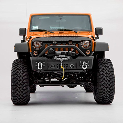 GSI Black Textured Short Stubby Front Bumper With Fog Lights Hole & 2x D-Ring & Winch Plate for 07-17 Jeep Wrangler JK
