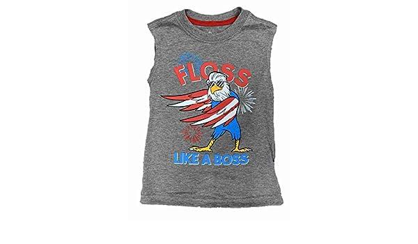Boys Gray Floss Like A Boss Patriotic Muscle Tank Top T-Shirt