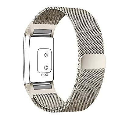 For Fitbit Charge 2 Bands Small and Large for Women Men 1 Pack or 2 Pack, hooroor Milanese Loop Stainless Steel Metal Bracelet Strap with Unique Magnet Lock Replacement Wristbands for Fitbit Charge 2