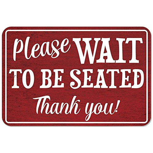 "Plastic Sign Please Wait to be Seated - 6"" x 9"" (15.3cm x 22.9cm)"