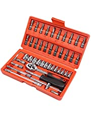 Car Repair Tool 46pcs 1/4-Inch Socket Set Car Repair Tool Ratchet Torque Wrench Combo Tools Kit Auto Repairing Tool Set