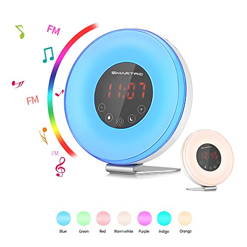 SMARTRO Sunrise Wake up Light Digital Alarm Clock Radio for Bedrooms, Bedside and Kids, 2018 Edition, FM Radio, 7 Colors, 6 Natural Sounds, 10 Brightness Levels and Touch Control