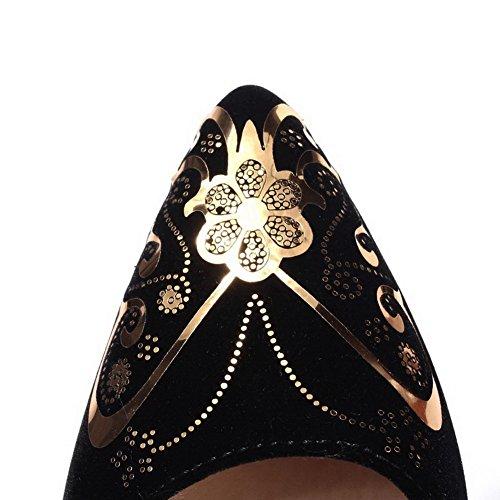 Delle Pull Tacchi Di Colori Smerigliato on Sottolineato Donne Nere Chiuse Pompe Assortiti scarpe Alti Weipoot Fwqr8axAF
