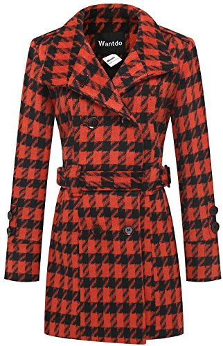 Wantdo Women's Double Breasted Houndstooth Funnel-Neck Wool Coat, Orange, Medium