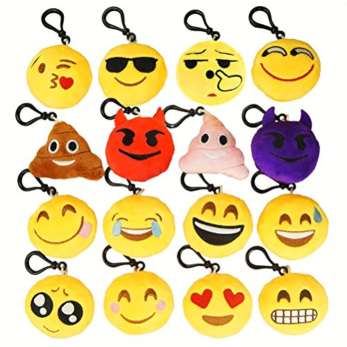 NIVIY Emoji Plush Keychain Cute Mini Plush Pillows Key Chain/Bag Decorations Kids Party Favor Great Gift for Birthday Christmas Day , 2