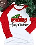 Women Merry Christmas Letter Tree Truck Print Shirt 3/4 Splicing Sleeve Baseball Tops Size US L/Tag XL (Red)