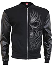 Spiral - DEATH RAGE - Bomber Jacket with PU Leather Sleeves