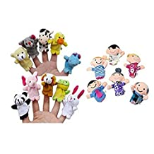 Boddenly Educational Toys 16PC Story Finger Puppets 10 Animals 6 People Family Members Educational Toy