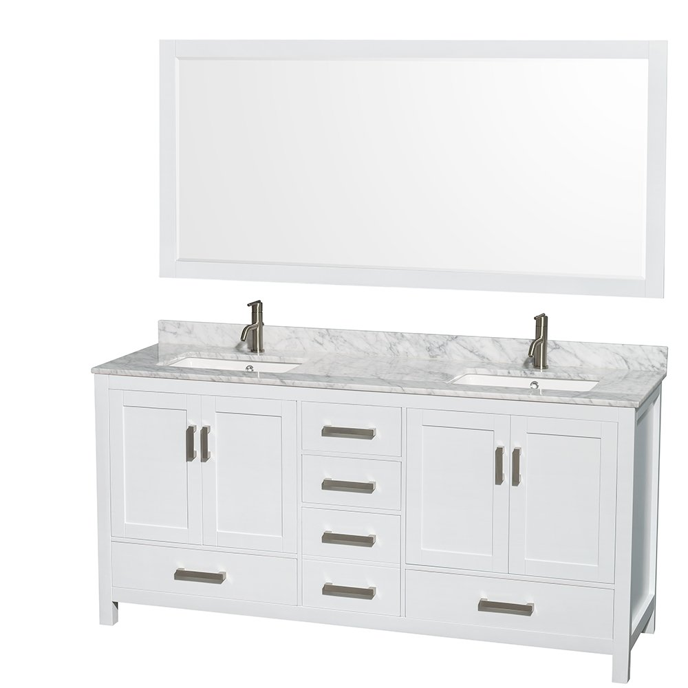 Wyndham Collection Sheffield 72 Inch Double Bathroom Vanity In White