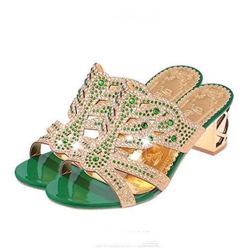Femmes Printemps Chaussures Open Pour Sandales Vert Mesdames Zycshang Mode Strass Les Heels Été Pantoufles Toe RqIfg