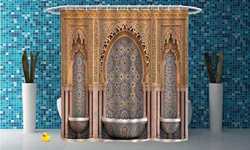 Waterproof Shower Curtain [ Moroccan Decor,Typical Moroccan Tiled Fountain in The City of Rabat Near The Hassan Tower ] Shower Curtain with Hooks by iPrint