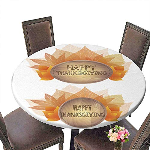 Decorative Round Tablecloth,Wooden Plaque with a Bouquet of Autumn Leaves Assorted Size up to 55.5